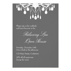 Open House Smokey Gray Grand Ballroom Personalized Invitation