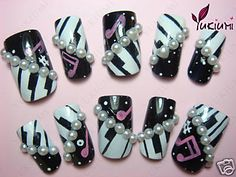 Posts about nails written by Camilla Stenmark Music Note Nails, Music Nail Art, Music Nails, Crazy Nail Designs, Nail Art Designs, Get Nails, How To Do Nails, Piano Nails, Concert Nails