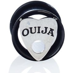 Ouija Tunnel Plug ($10) ❤ liked on Polyvore featuring jewelry, black, charm jewelry and charm earrings