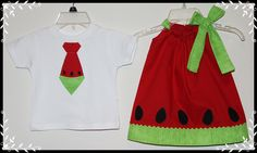 "This set turned out so cute , perfect for your summer BBQ . The listing includeds the appliqued boys watermelon tie tee and the matching red watermelon dress.    Please leave size needed in message to seller.    Tee shirt available in sizes"" 0-3m,3-6m,6-9m,12m,18m,24m/2t,3t,4t,5t    Dress Size av..."