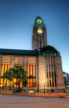 The bell tower of the Central Railway Station is definitely one of the most recognized landmarks in Helsinki, Finland Beautiful Buildings, Beautiful Places, Visit Helsinki, Central Station, Capital City, Places To See, Around The Worlds, Urban Beauty, Dieselpunk