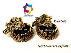 Silk thread jhumkas – Khushi Handicrafts Silk Thread Jhumkas, Silk Thread Earrings, Handmade Jewellery, Ball Chain, Black Silk, Crystal Earrings, Handicraft, Collections, Crystals
