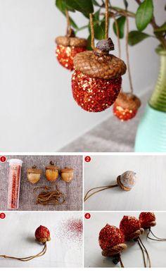 DIY Glitter Acorn Ornaments | 25+ DIY Christmas Decor Ideas for the Home