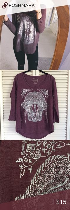 Lucky Brand Hamsa Red Knit 3/4 Sleeve item info //  + silver hamsa detailing + 50% polyester 37% cotton 13% rayon + hardly worn, two small stains on the back that may come off in the wash but I keep forgetting to launder this as it's been washed and worn once!  + size s but oversized fit   closet info //  + all bundles 10% off automatically + all offers encouraged Lucky Brand Tops Tees - Long Sleeve