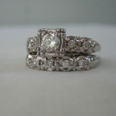 Vintage 1940s engagement/wedding ring set