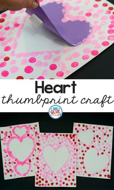 Create this Heart Thumbprint Art in your kindergarten classroom as your next Valentine's Day craft! It's a fine motor Valentine craft idea for kids. It's a great five minute craft idea for February! via @dabofgluewilldo