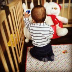 Instagram media naka_hazuki - 正座でロディと対峙する。  #息子 #9ヶ月 #正座 #ロディ #天気悪くて引きこもり