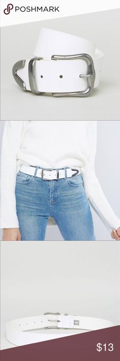ASOS Jeans Belt in White Faux-leather strap, adjustable length, pin-buckle closure. Size medium! Never worn! Out of stock on ASOS site. ASOS Accessories Belts