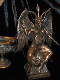 Majestic Tall Baphomet Statue for sale at http://www.gothicroseantiques.com/MajesticTallBaphometStatue.html