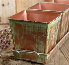 Plant the tray's three pots with gorgeous flowers for a full floral display    Vedigris Copper Herb Pots & Tray $11