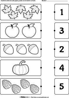 Kindergarten worksheets - Count and match Preschool Writing, Numbers Preschool, Preschool Learning Activities, Free Preschool, Preschool Activity Sheets, Montessori Preschool, Montessori Elementary, Preschool Education, Printable Preschool Worksheets