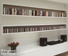 CD storage 'U' floating shelves Ikea Cd Storage, Dvd Storage Tower, Dvd Storage Case, Cd Storage Units, Movie Storage, Vinyl Record Storage, Storage Shelves, Cd Regal Ikea, Dvd Regal