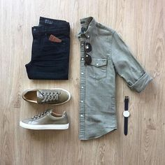 Men& Fashion Outfit Grid You Need! Men& Fashion Outfit Grid You Need! Mode Outfits, Casual Outfits, Fashion Outfits, Fashion Trends, Outfit Grid, Stylish Men, Men Casual, Casual Styles, Casual Shirt