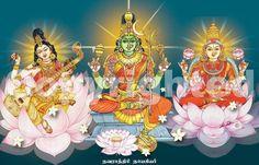 The divine Trinity of goddess Saraswati Painting, Lord Shiva Painting, Tanjore Painting, Saraswati Goddess, Shiva Shakti, Rudra Shiva, Durga Maa, Indian Goddess, Goddess Art