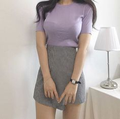Korean Fashion – How to Dress up Korean Style – Designer Fashion Tips Purple Outfits, Girly Outfits, Cute Casual Outfits, Skirt Outfits, Pretty Outfits, Korean Fashion Trends, Korean Street Fashion, Asian Fashion, Cute Fashion