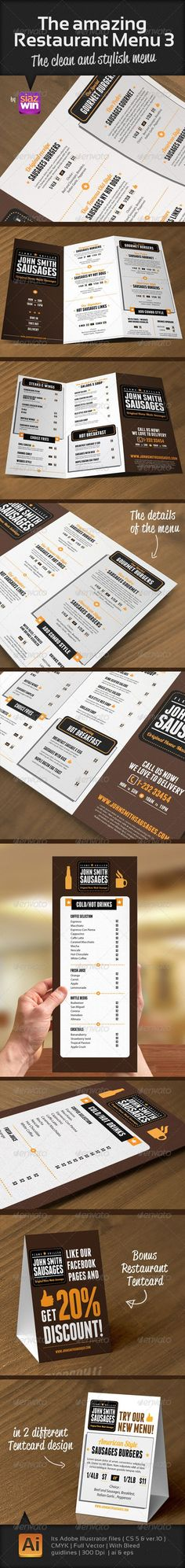 Print Templates - The Amazing Restaurant Menu 3 | GraphicRiver