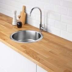 BOHOLMEN Inset sink, 1 bowl - IKEA would be good for the bar/prep replacement Modern Kitchen Cabinets, New Kitchen, Kitchen Ideas, Fitted Cabinets, Airstream Living, Round Sink, Round Kitchen Sink, Kitchen Sinks, Inset Sink