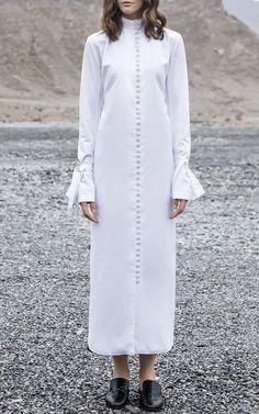 Ruffle Collar Shirt Dress by BOUGUESSA for Preorder on Moda Operandi