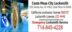 To get affodable Costa Mesa Locksmith services like automotive, commercial, and residential locksmith at Costa Mesa city as well as Newport Beach and Newport coast.