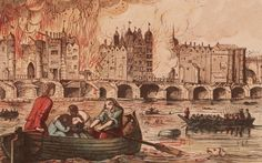 In 1666 the Great Fire of London laid the city to waste, with many people escaping to safety over the Thames. Fears that the flames might cross the river and set fire to the south side of the city luckily proved unfounded. Fire London, Great Fire Of London, The Great Fire, London Bridge, Old London, Vintage London, London History, British History, European History