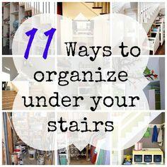 11 Ways to organize under the stairs | OrganizingMadeFun.com