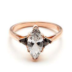 Black + White Diamond Marquis Bea in Rose Gold