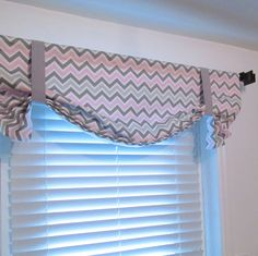 Fully Lined TIE UP Curtain Valance Pink Grey White Chevron Zig Zag  Your Choice of Width Handmade in the USA by supplierofdreams on Etsy https://www.etsy.com/listing/216740986/fully-lined-tie-up-curtain-valance-pink
