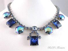 Vintage Light Sapphire HEXAGON AB & Blue Rhinestone Necklace Choker