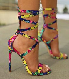 2a4eb8470c50 Colourful rainbow strappy wrap around ankle skinny stiletto peekaboo toe  sandals