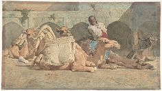 "Camels Reposing, Tangiers; Mariano Fortuny Marsal (1838–1874); Brush and watercolor over black graphite underdrawing. On off-white paper; 8-1/4"" x 14-3/4""; Metropolitan Museum of Art, New York"