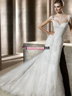 Love the shoulders! http://www.laceweddingdressshop.com/#    2012 new fishtail royal princess dresslace vintage wedding dress