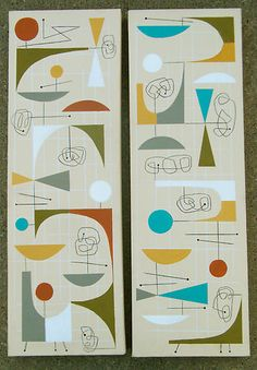 2 EL GATO GOMEZ PAINTINGS MID CENTURY MODERN EAMES RETRO ATOMIC GOOGIE ABSTRACT…
