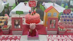 Peppa Pig. pastel de rosas en crema.