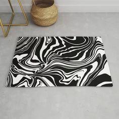 Black N White Modern Graphic Marble Rug Black And White Carpet, Black N White, Animal Rug, Animal Print Rug, Marble, Rugs, Modern, Design, Home Decor