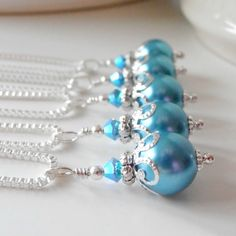 Malibu Bridesmaid Jewelry Aquamarine Pearl Necklace in Silver Beaded Wedding Jewelry Sets Bridesmaid Necklaces Blue Pearl Pendant Necklace