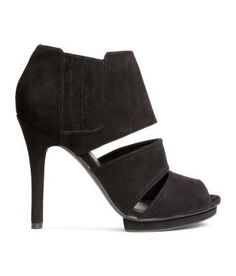 size 40 1dd6e c0fd7 Peep-toe ankle boots in imitation suede with covered elastic panels at  sides.
