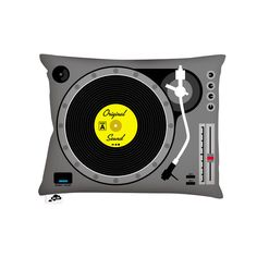 Spin doctor: Sing the cool tunes with a turntable throw pillow for your little music lover!