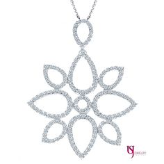 0.80 Carat Diamond Encrusted Elegant Pendant F Color VS1/VS2 Clarity 14k White Gold