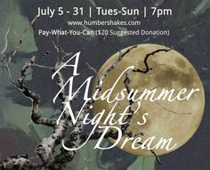A Midsummer Night's Dream will be performed by the Humber River Shakespeare Company at the Schomberg Fairgrounds on July Shakespeare And Company, Midsummer Nights Dream, Family Events, Romantic Getaways, Stuff To Do, July 7, Tours, Toronto, Fun