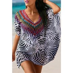 Sexy Plunging Neck Short Sleeve Printed Chiffon Women s Cover Up (18 BAM) ❤ liked on Polyvore featuring swimwear, cover-ups, sexy beach cover up, sexy cover ups, chiffon cover up, sexy swimwear and cover up beachwear