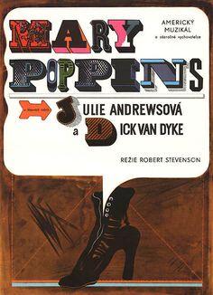 Mary Poppins, Robert Stevenson, Poster designed by Eva Galová-Vodrázková, 1969 Mary Poppins, Polish Posters, Film Posters, Typography Love, Typography Prints, Lettering, Pop Art, Art Design, Graphic Design