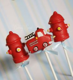 Red Fire Engine and Hydrant Cake Pop by EntirelySweet on Etsy