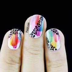 Watercolor leopard nails