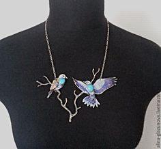 """Copper necklace   Купить Колье """"Сизоворонки"""" - голубой, синий, синяя птица, синие птицы, сизоворонки, сизалевое волокно"""