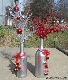 Wine bottle decor for Christmas by Judy Kilroy
