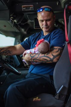 Babys first fire dept. visit Firemans baby. Daughter of a hero. Daddys girl. Fire baby