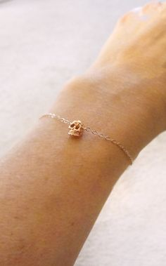 Rose gold skull bracelet  tiny skull bracelet in by OliveYewJewels, $37.00  @Michelle Christman