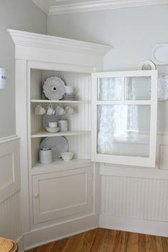 Wonderful Make A Fake Built In With 2 Painted Corner Cabinets.