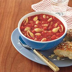 Pasta e Fagioli Soup | MyRecipes.com  This is a good one. I used gazpacho beans and dried thyme and a combo of broth and boullion.