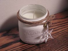 Vanilla candle and chalk paint painted mason jar Mason Jar Art, Mason Jar Candle Holders, Mason Jar Gifts, Mason Jar Candles, Painted Mason Jars, Diy Candles, Manson Jar, Magic Crafts, Christmas Mason Jars